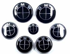 7x ALL BLACK BMW Wheel cover Steering Wheel Emblem Hood Trunk (2x82,4x68,1x45mm)