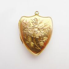 Antique Victorian Gold Locket 9ct B&F  - Shield Shape Engraved with a Rose