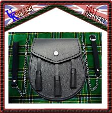 Scottish Black LEATHER Kilt SPORRAN and Belt 3 Tassels leather sporran