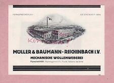 REICHENBACH, Werbung 1928, Müller & Baumann Mechanische Wollenweberei Kammgarn