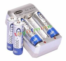 4x AA 2A 3000mAh 1.2 V Ni-MH BTY Rechargeable Battery Cell+ AA Battery Charger
