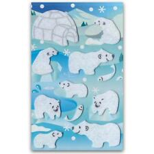 ✰ CUTE POLAR BEAR FELT STICKERS Sheet Animal Kids Craft Scrapbook Fuzzy Sticker