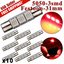 10X NEW Red LED 3SMD 29mm-31mm 5050 Fuse Sun Visor Vanity Mirror Light Bulb 6641