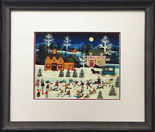 "Jane Wooster Scott ""Frosty Frolics"" Newly Custom FRAMED SERIGRAPH Art Americana"