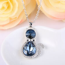 Cat Kitty Blue Austrian Crystal Animal Pendant Necklace Silver GP Women Party