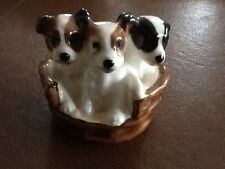 Vintage Royal Doulton Figurine Wire Smooth Fox Terrier Dog Puppy In Basket 2597