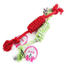 Puppy Dog Pet Chew Toy Cotton Braided Bone Tug Play Game Rope Knot Toy New In!