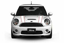 Mini Cooper 2007-2013 White with Red Hood Stripe Decals - Exact Fit No trimming