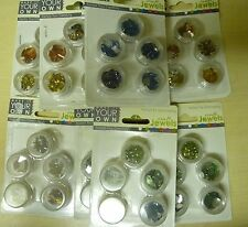 Flatback Gems for cards, assorted sizes & shapes,gold, blue, green 9 x 5 pots