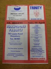 16/04/1978 Rugby League Programme: Wakefield Trinity v St Helens (team changes).