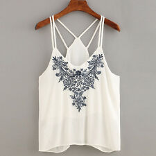 Womens Summer Tank Tops Sleeveless Floral Embroidered Strappy Cami Tops T-Shirt