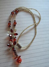 TOP QUALITY RED CRYSTAL FLORAL Y DROP MAGNETIC CLASP NECKLACE