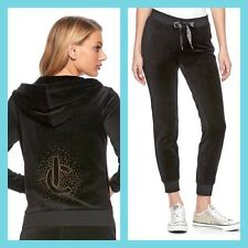 New Women's Juicy Couture Tracksuit Black Bling Velour Hoodie Pants 2pc Sm Set
