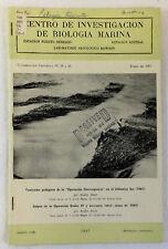 1967 Centro De Investigacion De Biologia Marina Booklet~ Buenos Aires, Agrentina
