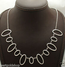 Waterfall Cleopatra Oval Link Rolo Cable Chain Necklace Sterling Silver 925