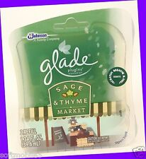 2 Refills Glade PlugIns SAGE & THYME MARKET Scented Oil Fall Collection