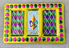 Mardi Gras Party PlateFleur De Lis Glass Platter Decoration Parade Hand Painted