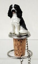 Cavalier King Charles Dog Tri Color Hand Painted Figurine Wine Bottle Stopper