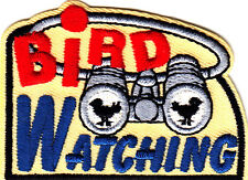 """BIRD WATCHING""- Iron On Embroidered Applique Patch- Eagle, Birds,Binoculars"