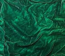 """Hand Dyed Silk VELVET Fabric Emerald Green 45"""" by the yard"""