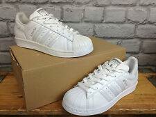 ADIDAS SUPERSTAR UK 4 SHELLTOE WHITE PEARL OPALESCENT LEATHER TRAINERS RRP £70