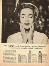 1961 Vintage ad for MAX FACTOR~3 different products~Pretty Model/60's Hair