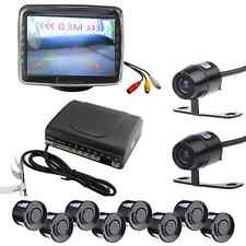 "Car Front Rear Kit Reverse Front View Camera + 3.5"" Monitor + 6 Parking Sensors"