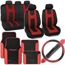 Rome Sport 14 Pc Set - 2 Tone Black / Red Car Seat Cover, Mat & Steering Cover