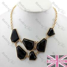 FACETED BLACK/GOLD FASHION NECKLACE jewelled COLLAR chain GEM retro ADJUSTABLE