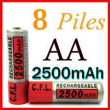 8 PILES ACCUS RECHARGEABLE AA NI-MH 2500mAh 1.2V LR06 MIGNON - DIRECT DE FRANCE
