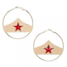 DC Comics Wonder Woman Hoop Gold Red Star Earrings   NIB