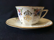 Tasse  porcelaine peinte de Limoges monogramme à l'or G.S