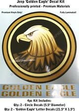 Jeep Wrangler Golden Eagle Decals 4pc Kit for Hood & Side Fully Laminated 0023