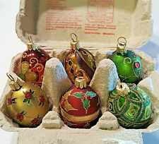 6 SWIEZE JAJA GLASS CHRISTMAS EGG ORNAMENTS IN CARTON MADE IN POLAND