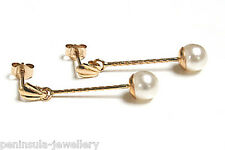 9ct Gold 5mm Pearl Long Drop earrings Gift Boxed Made in UK