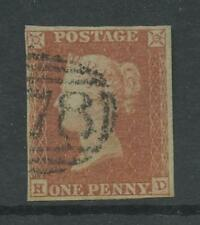 PENNY RED IMPERF Plate 96..HD..VERY FINE USED 4 MARGINS