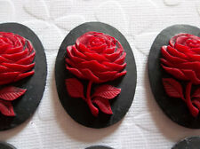 Red Rose Flower on Black Cameo - 40X30mm Resin Cabochons - Qty 6