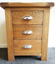 100% Rustic Solid Oak 3 Drawer Bedside Table Cabinet Chest Storage Unit New