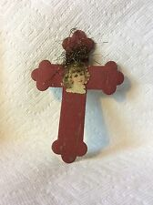 ANTIQUE GERMAN TINSEL PAPER GIRL ON CROSS CHRISTMAS ORNAMENT