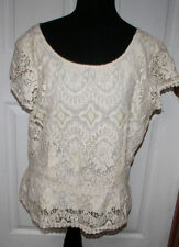 Ann Taylor Short Sleeve Cotton Blend Lace Lined Shirt Top Size 14