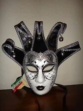 Authentic Venetian Italian Mask Jester Bell Black Silver White~Made Venice Italy