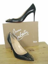 Christian Louboutin Black Leather Pump, Gold/Black Spikes on Cap-Toe sz 38.5 NIB
