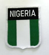 EMBROIDERED NIGERIA WORLD COUNTRY FLAG SHIELD PATCH 3 INCHES