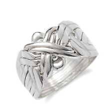 925k Sterling Silver 8 Band Turkish Puzzle Ring - Sizes from 7 to 14