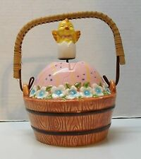 Easter Basket with Chick in Egg Moves Up and Down Music Box Porcelain Vintage