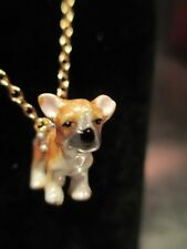 French Bulldog Fawn Fine Enamel And Crystal Pendant Necklace