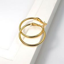 Charms 18k Yellow Gold Filled Lady Earrings 30MM Ring Women Hoop Wedding Jewelry