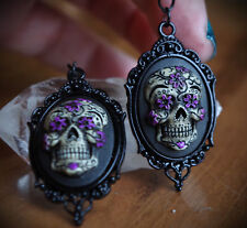 Black&Purple Sugar Skull Calavera Day of the Dead Dia De Los Muertos Earrings