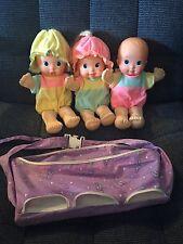 Vintage Magic Nursery Fuss N' Giggle Triplets Dolls w/ Carrier Works Mattel 1992
