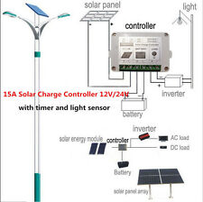 15A 12/24V PWM Solar Charge Controller Regulator Battery Protecting